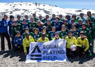 Group picture of the teams and officials at the Equal Playing Field: World Record Game (Photo: Dana Roesiger)