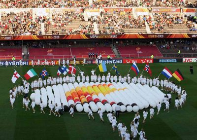 The ceremony before the UEFA Women's Euro 2009 final at the Helsinki Olympic Stadium in Helsinki, Finland
