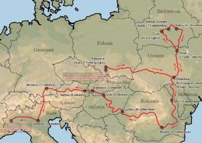"""Map of the path taken by Primo Levi home from """"The Truce"""" (1963)"""