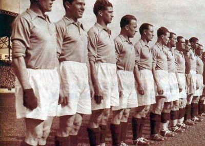 The French football team at the 1938 World Cup (victory over Belgium). Le Miroir des sports, 8 june 1938