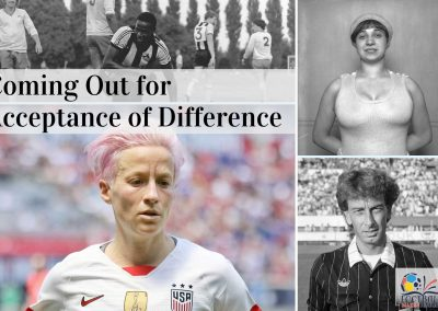 Coming Out for Acceptance of Difference (FMH Photo collage). Credits: Justin Fashanu (Photo: Alan Feebery); Violette Morris (Photo: National Library of France); Megan Rapinoe (Photo: Jamie Smed / Wikimedia Commons); John Blankenstein (Photo: Bart Molendijk, National Archives of the Netherlands / Anefo).
