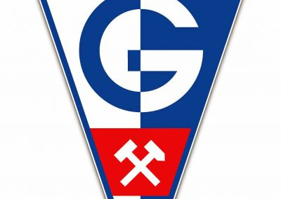 Górnik Zabrze's emblem with hammer and chisel
