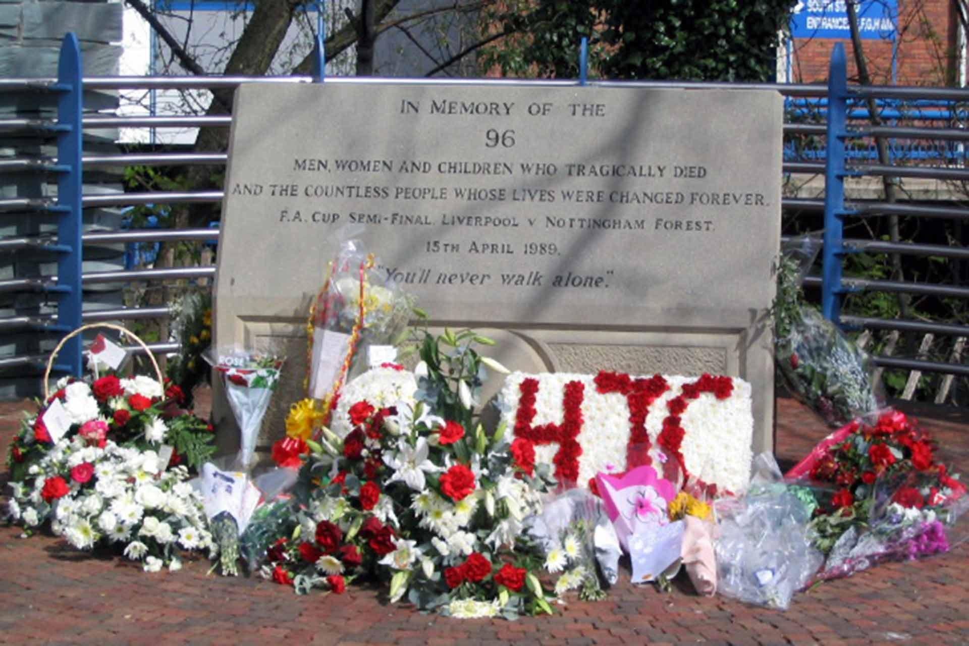 """The Hillsborough memorial, dedicated to the 96 victims of the 1989 """"Hillsborough Disaster"""" (Photo: Dave Pickersgill / Hillsborough Memorial / CC BY-SA 2.0 / Wikimedia Commons)."""