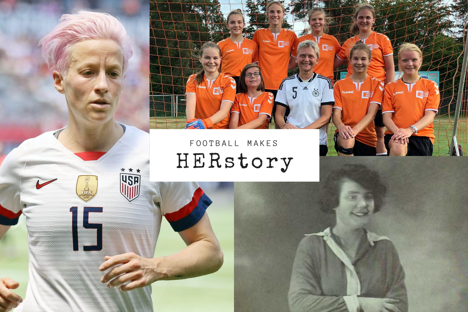 FMH Photo collage (Megan Rapinoe, Photo: Jamie Smed, Wikimedia Commons; Petra Landers, Photo: Heinz Reinders, Wikimedia Commons; Carmen Pomies, Photo: Très Sport).
